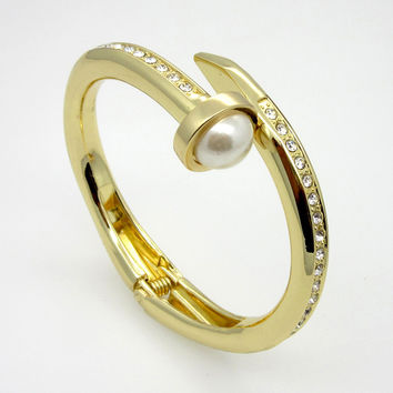 Chunky Nail Head Pearl and Crystal Gold Plated Bangle Bracelet