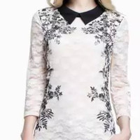White Lace Floral Print Sleeve Blouse