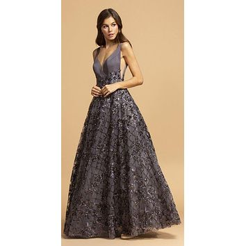 Charcoal Prom Ball Gown with Sequins and Appliques