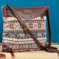 Elephant Printed Crossbody Bag-Brown