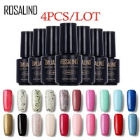 ROSALIND (4PCS/Lot) 7 ML 60 Colors to choose Nail Gel Polish Long-Lasting Soak Off Art Gel Nail Polishes Lacquer Gel Set & Kits