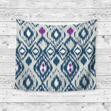 Aztec Purple Blue Pattern Boho Gypsy Unique Dorm Home Decor Wall Art Tapestry