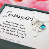 Gift for goddaughter 925 Sterling Silver Initial birthstone cross necklace, confirmation, baptism, first communion necklace