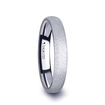 Sandblasted Crystalline Finished Rounded Tungsten Wedding Ring