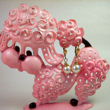 Vintage Pink Poodle Earring Holder / 1970's / Retro / Jewelry / Metal / Revere
