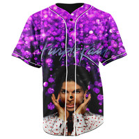 Prince Purple Rain Button Up Baseball Jersey
