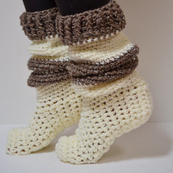 Crochet House Slipper/ Boot/ Leg warmer Combination. Leg warmer. House Slipper. Socks. Boot