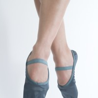 Slate Grey Satin Workout Slippers with Elastic - Shoes