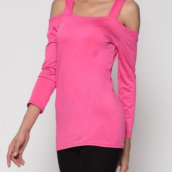 Casual Hollow Out Plain Off Shoulder Long Sleeve T-shirt