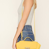 Faux Leather Trapeze Satchel
