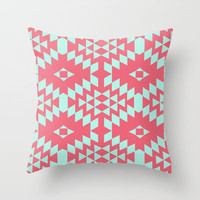 aztec Inspired Pattern Teal & Pink Throw Pillow by daniellebourland | Society6