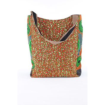 African Print Shopper Bag- Red/Green Floral