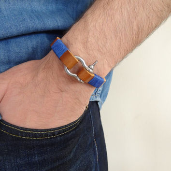 Men's Camel Leather Bracelet, Men's Jewelry, Crome Screw Clasp Bracelet, Men's Cuff Bracelet, Father's Day Gifts