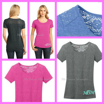 Monogrammed Plus Size Cotton Shirt - Lace Back Top - Black - Blue - Grey - Pink - Curvy Girl Top - XL to 4XL! (DM441)