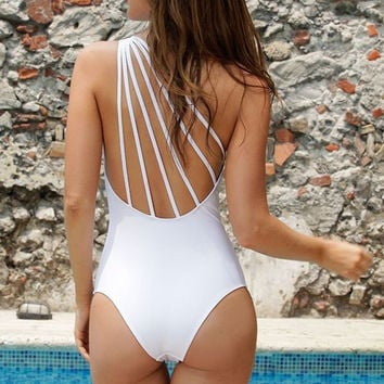 2017 Hollow Out Backless One Shoulder Strappy One Piece Swimsuit Pure Color Bodysuit Monokini Swimwear Women Bathing Suit