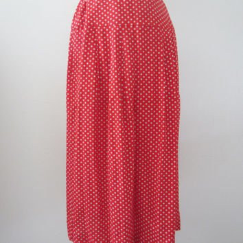 80s Red Polka Dot Rayon Skirt, S-M / W26 // Vintage A-Line Calf Length Skirt