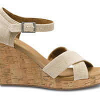 NATURAL BURLAP SIERRA WOMEN'S STRAPPY WEDGES