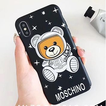 MOSCHINO Cute Stars Astronaut Teddy Bear Soft Mobile Phone Cover Case For iphone 6 6s 6plus 6s-plus 7 7plus 8 8plus X XSMax XR Black