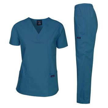Dagacci Scrubs Medical Uniform Women and Man Scrubs Set Medical Scrubs Top and Pants 1