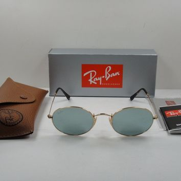 RAY-BAN OVAL FLAT SUNGLASSES RB3547N 001/30 GOLD FRAME/SILVER FLASH LENS 51MM