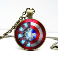 Vintage silver bronze Iron Man /Captain America Necklace glass Cabochon Necklace +Christmas gifts