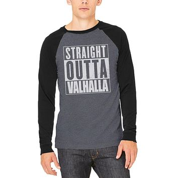 Straight Outta Valhalla Viking Valkyrie Adult Long Sleeve Raglan T-Shirt