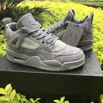 KAWS x Air Jordan Retro 4 Low Cool Grey Suede Cement Black Gray Basketball Shoes Men size