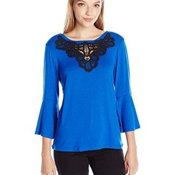 NY Collection Womens Petite Size Bell Sleeve Knit Top With Crochet Trim