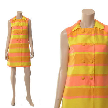 Vintage 60s Mod Shift Dress 1960s Carnaby Street Style MCM Sherbet Stripe Summer Party Double Breasted Boho Dress / size 6