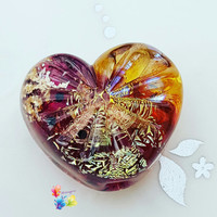 Lampwork Focal Bead, Majestic Delight Starburst Heart, Heart Bead, Jewel Tones, Glitter Bead, Gold, Faceted Bead, Ruby, Topaz, Luminous