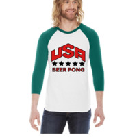 USA Beer Pong Team -  3/4 Sleeve Raglan Shirt