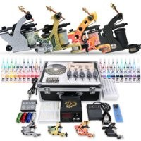 Dragonhawk Complete Tattoo Kit 4 Honor Tattoo Machine Guns Power Supply 20 Color Immortal Inks 50 Needles Tips Grips with Case D139GD