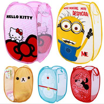 Hot sale!!! Wholsale Cartoon Folding clothes storage basket laundry basket dirty clothes bucket Toy basket Oxford fabric bag