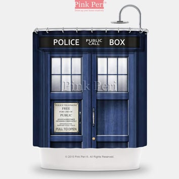 Doctor Who Police Box Shower Curtain Free shipping Home & Living 233