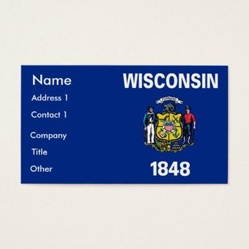 Business Card with Flag of Wisconsin U.S.A.