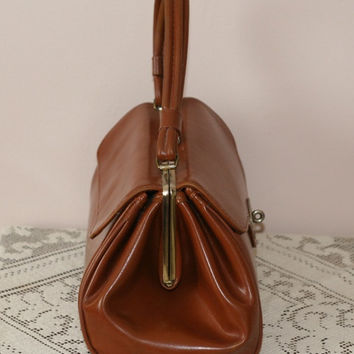 Vintage Brown Patent Leather Purse With Gold Snap Closure - Classic 1950's
