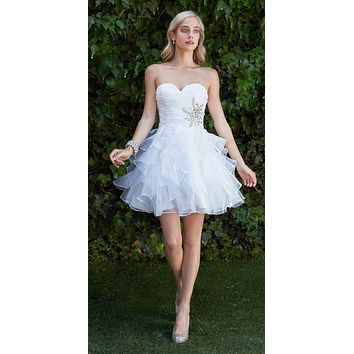 Short A Line Poofy Ball Gown Off White Sweetheart Organza