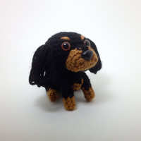 Cavalier King Charles Spaniel Black and Tan Stuffed Animal Handmade Amigurumi Dog Crochet Dog Doll / Made to Order