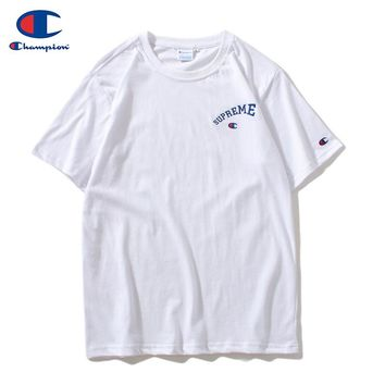 Champion x Supreme co-branded 2019 early spring new embroidery classic logo sports and leisure T-shirt White