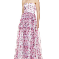 Women's Strapless Floral-Print Ball Gown, Purple/Multicolor - Aidan by Aidan Mattox - Purple multi (8)