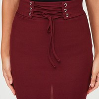 Missguided - Burgundy Ribbed Lace Up Waist Mini Skirt