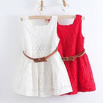 Summer Lace Vest Girls Dress Baby Girl Princess tutu Dress 2-8 Years Chlidren Clothes Kids Party Clothing For Girls Free Belt