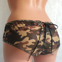 Camo Lace-Up Back Hipster - Available for Customization - Sexy Camo - Camo Wedding