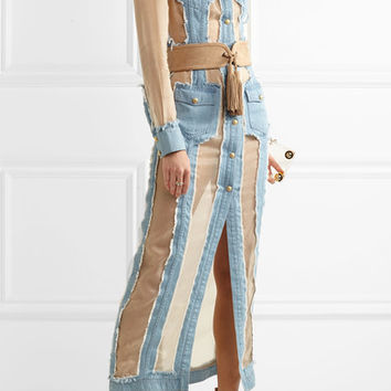 Balmain - Frayed denim and organza maxi dress