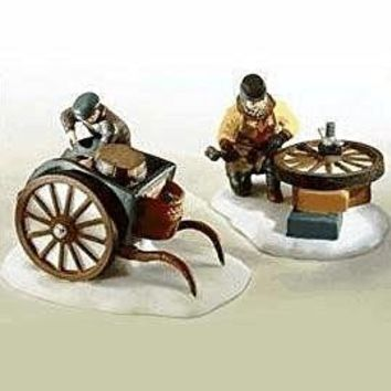 "Dept 56, Heritage Village Collection C. Bradford, Wheelwright & Son"" Set of 2 Handpainted Porcelain Accessories"
