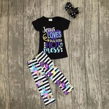 new arrivals baby girls summer black jesus loves this little hot issues outfits  with capri pants boutiques with accosseries bow