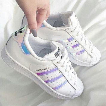 """""""Adidas"""" Fashion Reflective Shell-toe Flats Sneakers Sport Shoes Pink laser"""