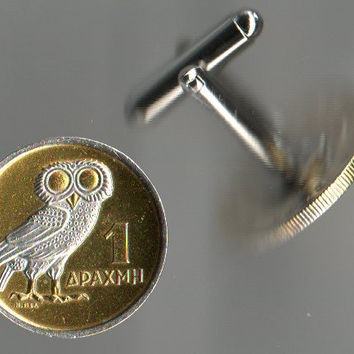 Gorgeous 2-Toned Silver & Gold  Greek  Owl   Coin Cufflinks