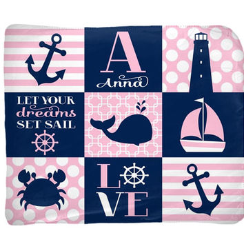 NAUTICAL Baby Blanket - Nautical Girl Nursery Bedding - Personalized Blanket - Name Blanket - Girl Shower Gift - Swaddle Blanket Pillow Set