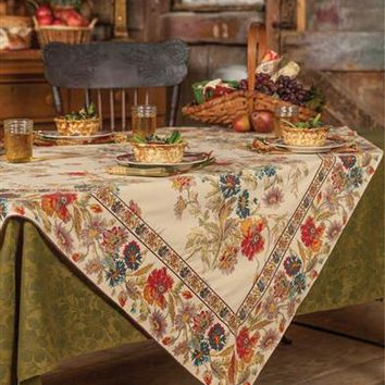 April Cornell Field Flowers Tablecloth | Thanksgiving Tablecloth